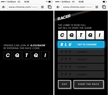 Google Chromeのスロットカーゲーム「RACER」