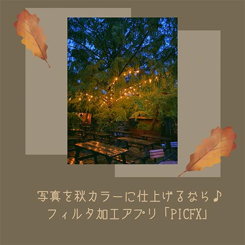 写真を秋冬っぽい空気感に仕上げたいなら、豊富なフィルタが揃う加工アプリ「PICFX」がおすすめ♩