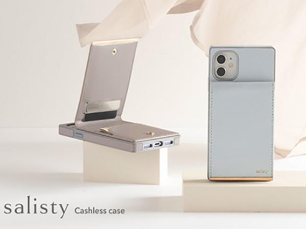 「salisty」からカード類がしっかり収納できるスマホケースが登場。新感覚の縦開きポケットが手元をエレガントに♡