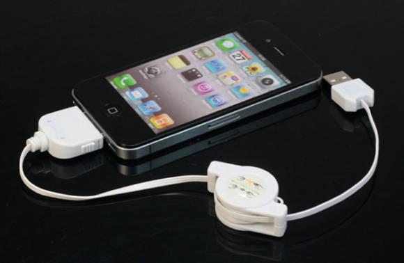【お一人様1つ限定】 iPhone 4用,iPod & iPhone3/3GS用 USB充電ケーブル コード巻き取り式 ホワイト