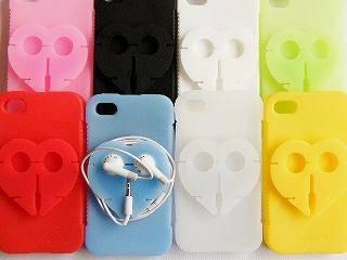 【メール便可】iPhone4 用イヤフォンホルダー・シリコンケース(8色)