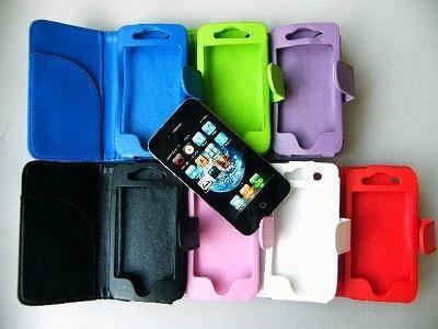 【メール便可】iPhone4 / 4S ケース プレイン・レザー・タイプケース 横型(7色)