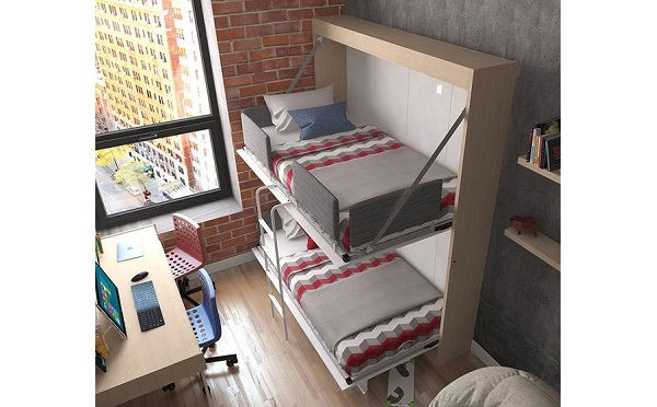 あれ?ベッドが見当たらない…使わないときは壁にスッキリ収納できる大人向け二段ベッドが秀逸