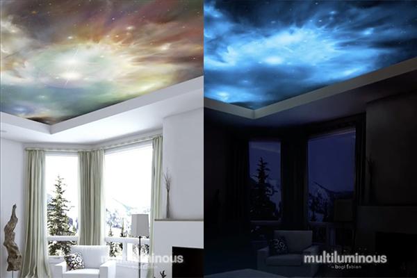 幻想的な空間に大変身♪光によって色が変わるアート壁紙がロマンティック