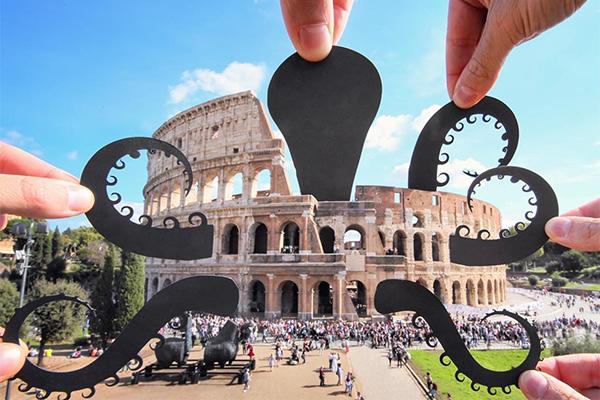 世界中のランドマークがターゲット!想像力とユーモアが溢れる切り絵を使った写真がおもしろい
