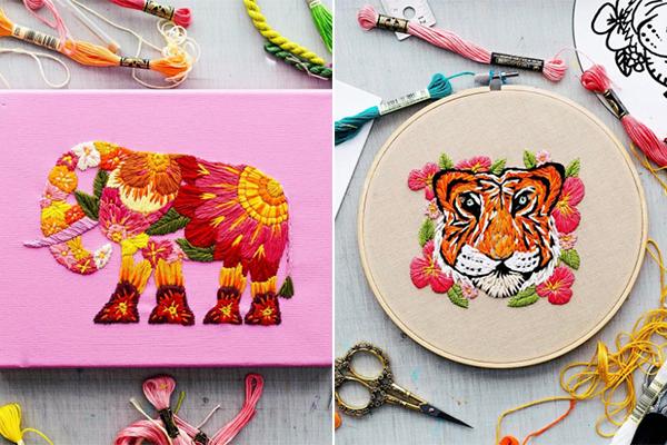 見ているだけで元気になれる☆ビタミンカラーがかわいい動物の刺繍アート
