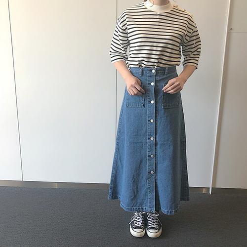 今週のGU新作は高見えするデニムスカートに注目。ハイウエストでスタイルもよく見える優秀アイテム♡