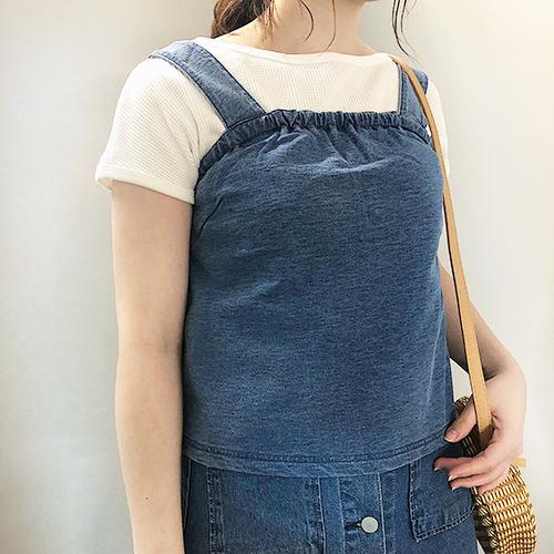 """今週のGU新作は1枚でも着られる""""デニム風スウェットキャミ""""がかわいい♡"""