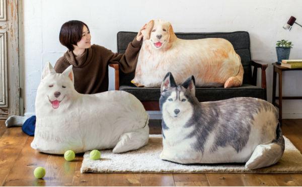 かさばる布団を収納してくれる頼れるワンコ♩大型犬プリントのクッションケースがかわいい♡