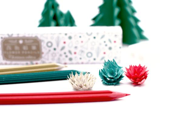 おしゃれなサプライズギフトに♡削ると花びらが生まれる『花色鉛筆』にクリスマスバージョンが登場♩