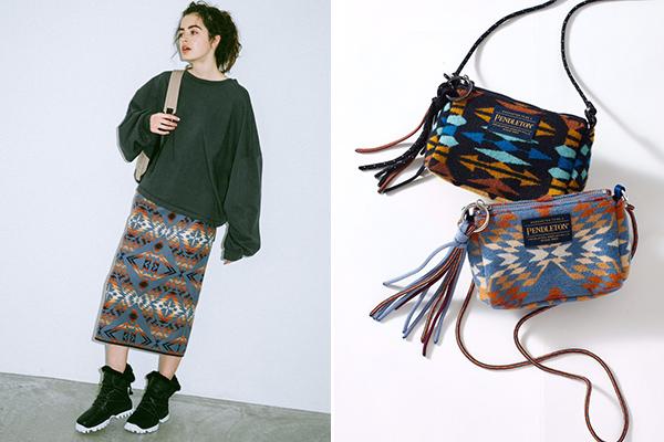 「emmi」と「PENDLETON」が初コラボ!ネイティブ柄のスカートとミニバッグで冬のコーデにメリハリを♡