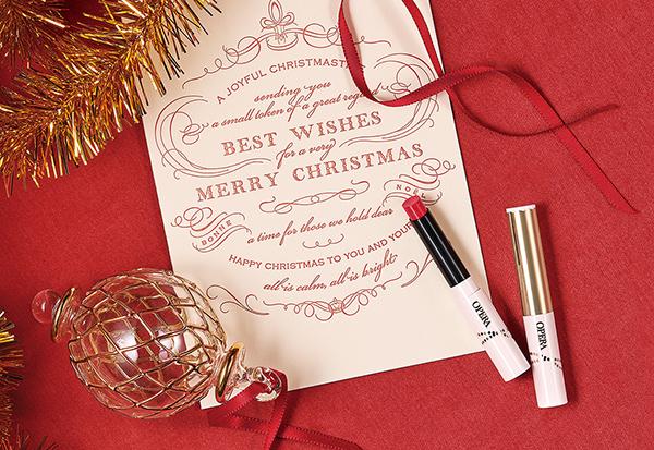 オペラ シアーリップカラー Nにクリスマス限定色が登場!星のようなラメを閉じ込めた透明感あふれる赤リップ♡