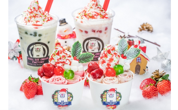 ロールアイスクリームファクトリーのクリスマスはチーズケーキ&いちごの最強コラボ♡タピオカドリンクも登場するよ♩