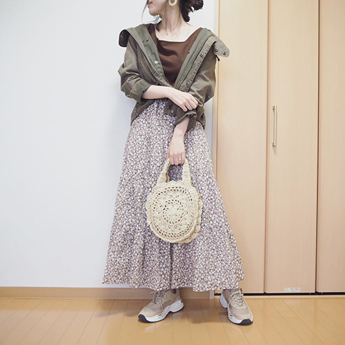 GUの花柄ティアードスカートが大人気!フェミニンにもカジュアルにも使える優秀アイテムでした♡