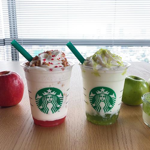 """スタバ新作フラペチーノは旬のりんごを使った2つのビバレッジ!""""グリーン""""と""""ピンク""""の見た目にも注目♡"""