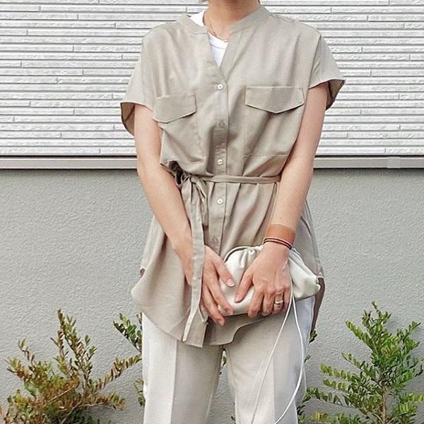 GUの着痩せアイテム「ダブルポケットチュニックシャツ」。色々な着回しもできて夏に大活躍する予感♪