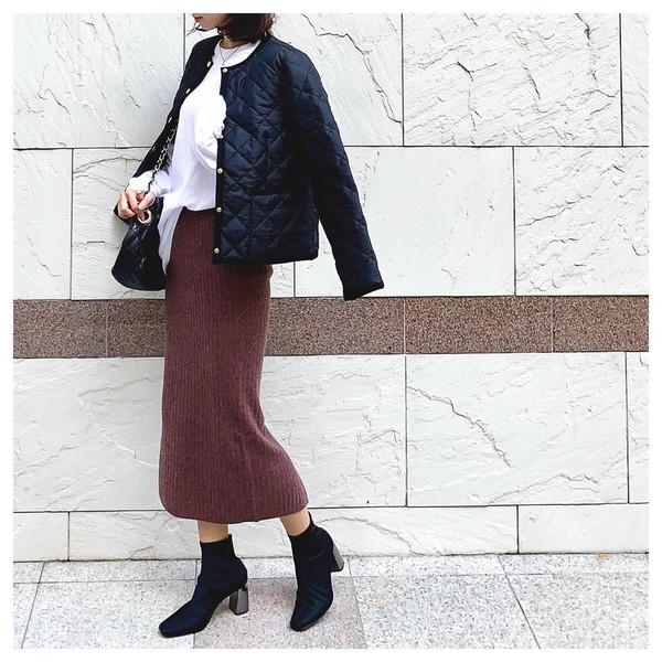 【今週なに着る?】20度前後で晴天が多い予報の今週は、キルティングジャケット×秋スカートで上品コーデ♡