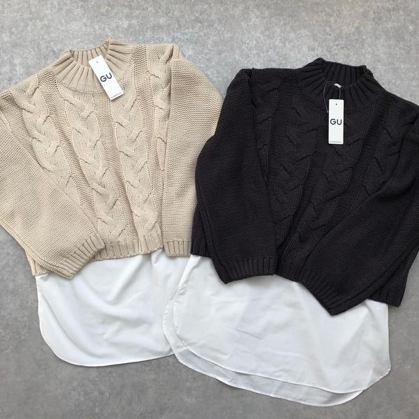 GUで今買うならコレ!旬のニット×シャツのレイヤードがこれひとつで楽しめちゃうから冬のヘビロテニット決定