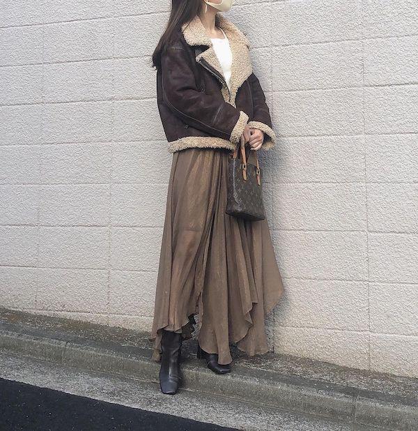 韓国っぽアウターがほしいならこれ!今冬に買い足すのはボアレザーがかわいい「ムスタンコート」で決まりっ