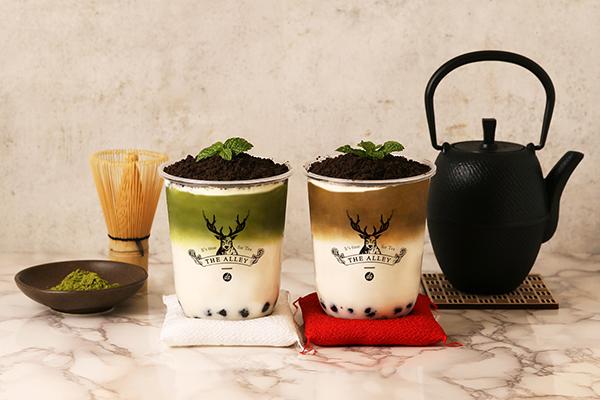 """年末年始は和のテイストでほっこり。「ジ アレイ」から抹茶とほうじ茶の""""盆栽""""タピオカラテが登場します♡"""