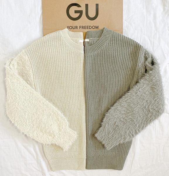 【GU】袖がふわふわ♡ずっと着ていたいほど着心地抜群「フェザースリーブセーター」が990円って本当…!?