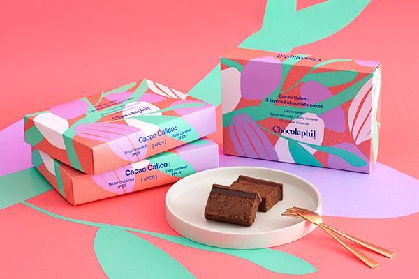 華やかなパッケージも素敵。「ショコラフィル」から3種類のチョコレート菓子を重ねたバレンタインケーキが発売