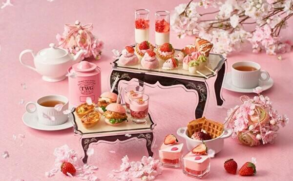 春の主役、いちご×桜が共演。ベビーピンクの春色アフタヌーンティーがストリングス表参道で3月スタート