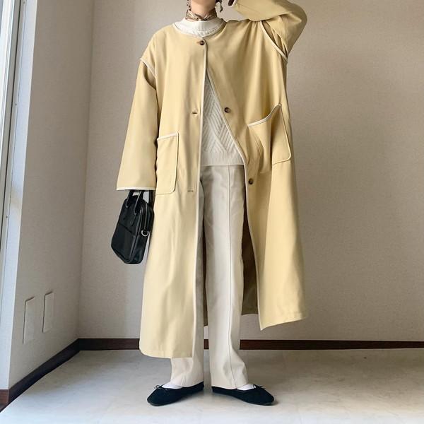 【今週なに着る?】日中の気温が10度の日もあれば20度の日も。春カラーのパイピングコートが大活躍する予感