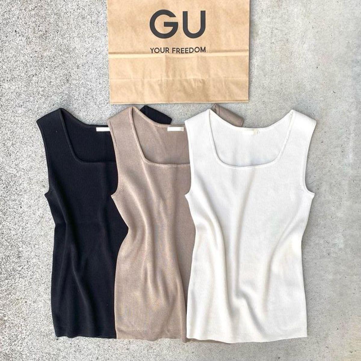 【GU】誰でもきれいに着こなせる「990円タンク」はゲット必至。体のラインがすっきりする美シルエットに注目