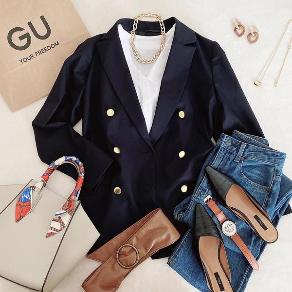 【GU】プチプラでもきちんと見えるこんな紺ブレ待ってた!デザイン満点のダブルブレストブレザーは絶対買い