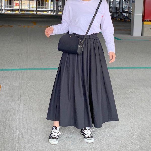【GU】美シルエットに惚れちゃいました。バサバサ揺らして歩きたいクラシカルな「ロングスカート」は必見