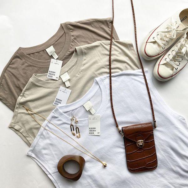 コスパ最強のTシャツは999円のコレかも!H&Mの「ジャージーノースリーブトップス」はヘビロテ間違いなし