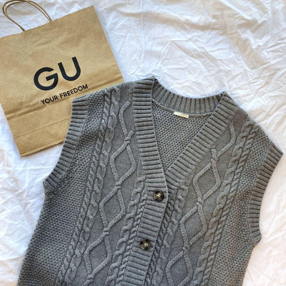 【GUレポ】このざっくり感がかわいいんです。「ケーブルニットベスト」で秋コーデに差をつけて