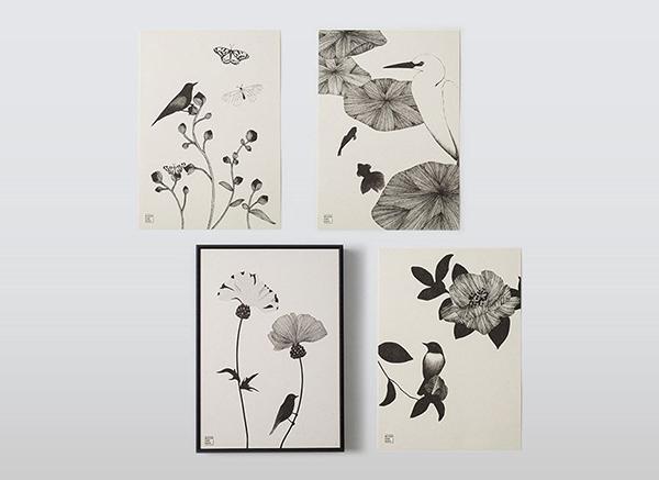 美しい日本の四季をモノトーンで。「プリスティン」の再生木綿紙で作られたポストカードや絵画が素敵なんです